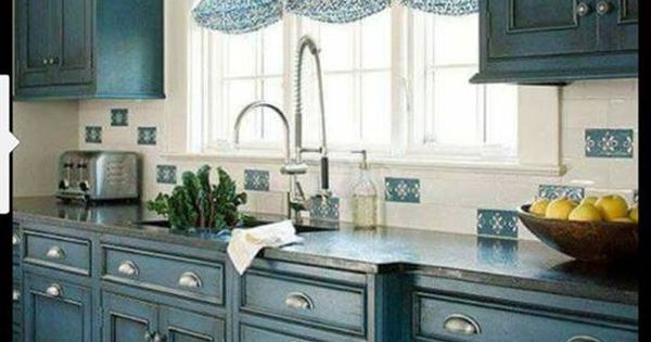 hand painted by Kara Roberts Benjamin Moore Mozart Blue with GF Black Glaze  Chalk Paint