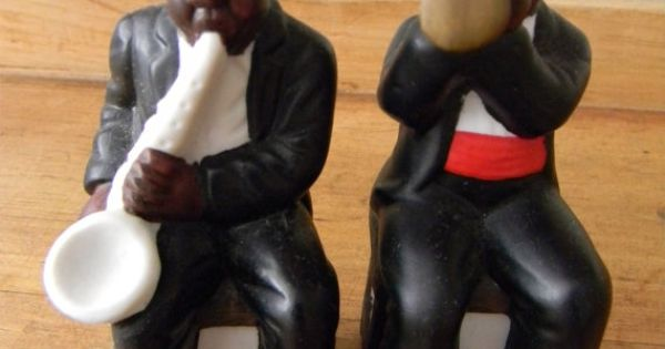 African BLACK AMERICANA Salt And Pepper Shakers New Orleans Sax And Trumpet Players Pepper