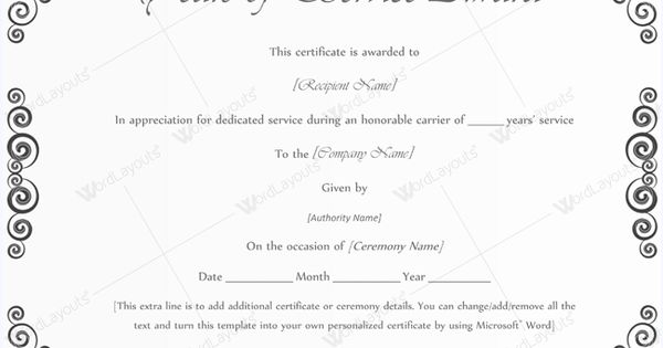 Years Of Service Award Template #awardcertificate #