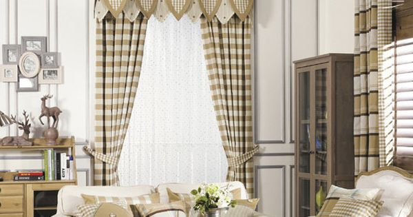 Brown Khaki Buffalo Gingham Check Plaid Curtain By HereIsTheShop Two Story Family Room Drapes