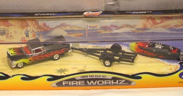 Hot Wheels Collectibles Fireworkz Truck and Boat Set MIB