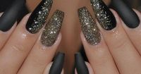 nice Black and gold glitter New Years Eve Coffin Nails ...