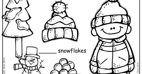 Winter Math and Literacy Packet NO PREP (Kindergarten
