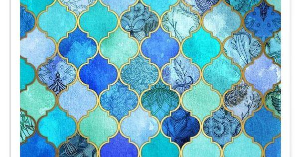 Cobalt Moroccan Tile Pattern VON Micklyn Le Feuvre now on JUNIQE  Bilder Rahmen etc