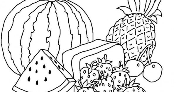 Free Print out Watermelon and pineapple coloring pages for