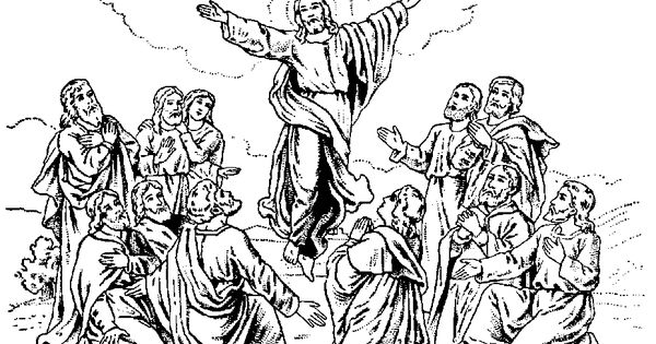 Jesus Christ ascension coloring pages and line art drawing