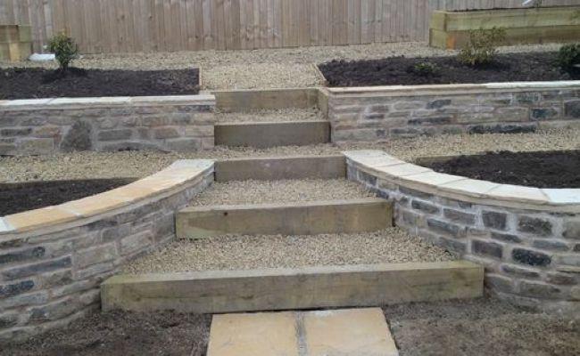 Retaining Walls In Natural Stone Sleeper Steps Garden