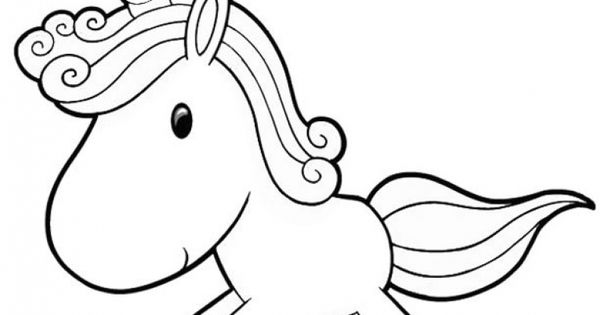 Cute Baby Unicorn Running Free Coloring Page For