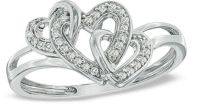 For Ariel for Christmas 1/10 CT. T.W. Diamond Triple Heart ...