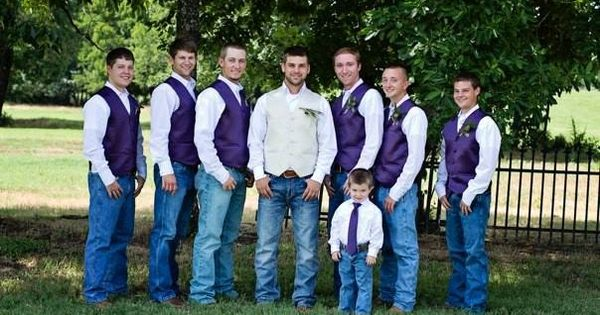 Groomsmen Purple vests White pearl snaps Jeans  boots  ring barer got to wear a little