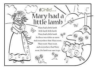 Mary Had a Little Lamb nursery rhyme lyrics. Find lots