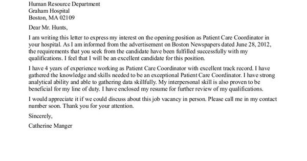 Patient Care Tech Resume Cover Letter  LEARNMEDITATEHEART  Pinterest  Resume cover letters
