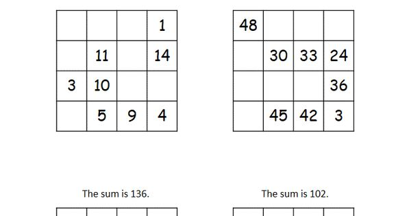 This worksheet has four 4x4 magic squares that require