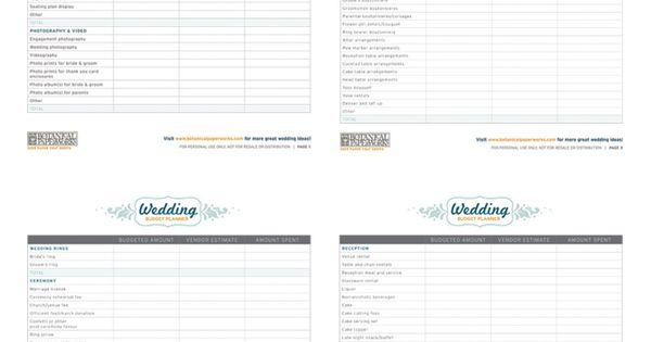 Free Printable Wedding Budget Planner, in editable Excel