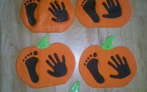 Salt Dough Handprint And Footprint Pumpkin Keepsakes