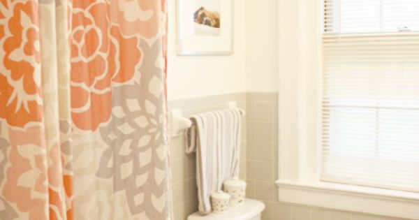 Orange and grey shower curtain with chevron towel I have this shower curtain in green but I