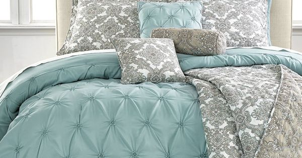 Jasmine Blue 10 Piece Queen Comforter Set  Bed  Bath