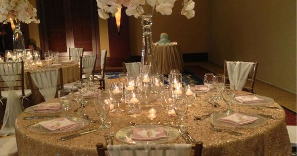 An elegant wedding reception in champagne gold blush pink and cream  Gold Wedding