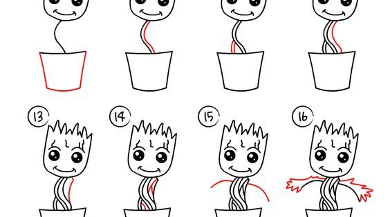 How to draw Baby Groot (baby plant). Easy drawing, step by