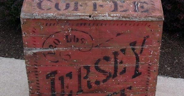 Antique Country Primitive Jersey Coffee Wooden Bin Box