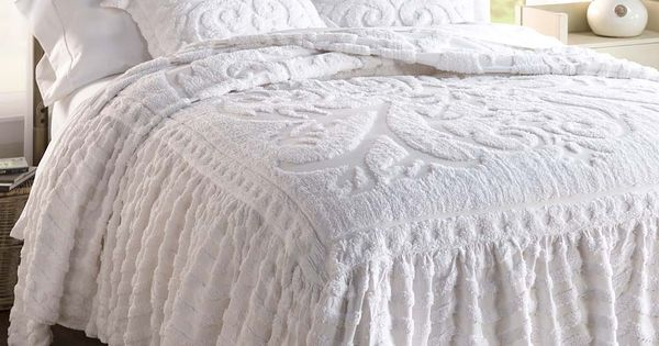 living room mattress white sofa flourish skirted chenille bedspread | delicate, dainty and ...