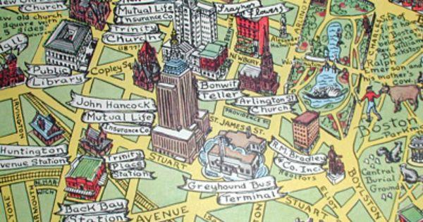 Boston Tourist Map George Glazer Gallery Antique Maps