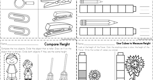 Worksheets for measuring length and height. Part of a