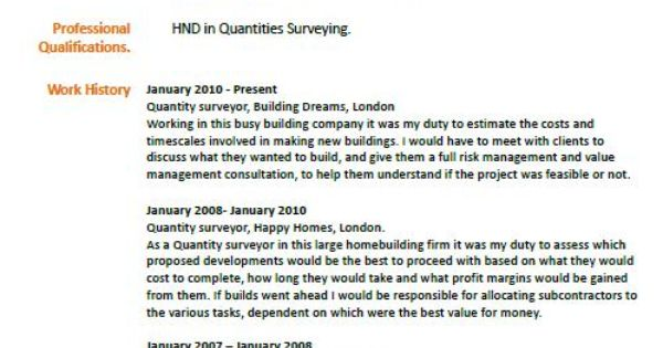 Quantity Surveyor Cv Example Learnist Org Pinterest
