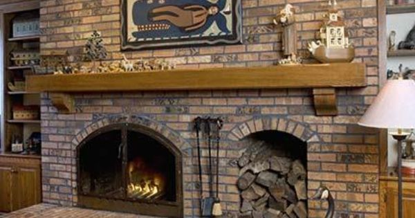 log home living room decorating ideas curtains drapes fireplace with wood box | fireplaces: raised hearth brick ...