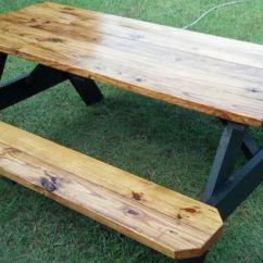 Adirondack Wooden Chair Plans Yoga Breathing Exercises Another Way To Finish A Picnic Table.clear Polyurethane Tops And Benches.with Behr Slate Stain ...