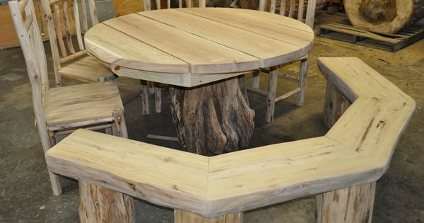 spool chair for sale round hanging great the porch or dining room: rustic pedestal table with locust chairs and a ...