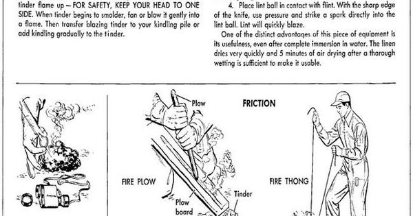 How to start a fire from the 1955 training manual from the