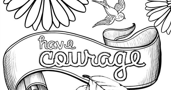 Cinderella Inspired Grown Up Colouring Pages: Have Courage