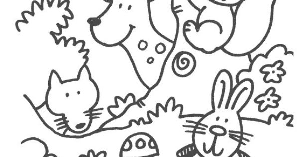some coloring pages in the theme forest animals for