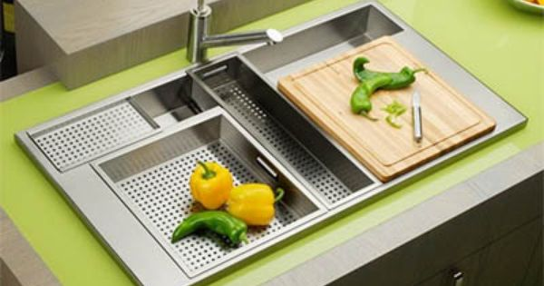 kitchen sinks with drain boards remodeling open living room elkay sink integrated cutting board | ...
