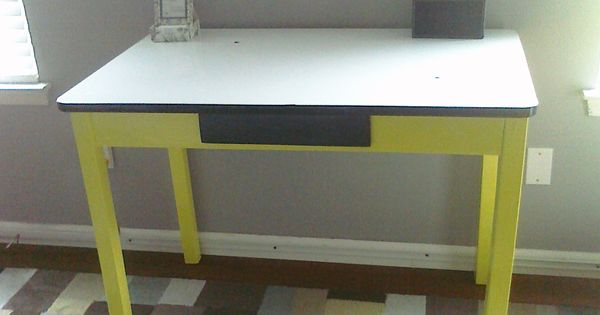 Antique kitchen table w white enamel metal top refinished