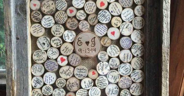 Gstebuch zur Hochzeit  Holzscheiben im Rahmen zum