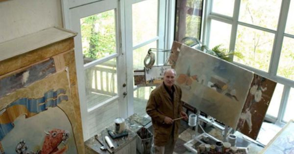 Artist Larry Mansker in his studio part of the Eureka Springs Artists Studio  studios