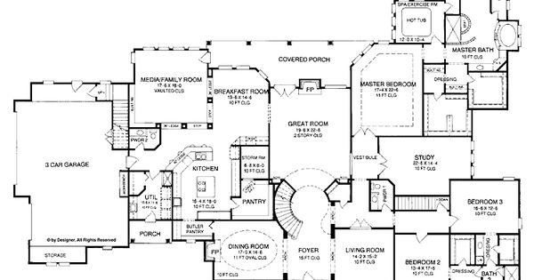 4-5 bedroom one story house plan with exercise room