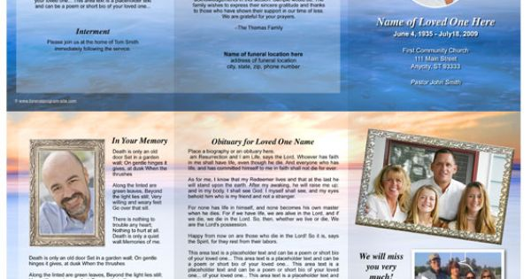 Dusk Funeral Trifold Brochure Template Celebration Of Life Pinterest Funeral Memorial