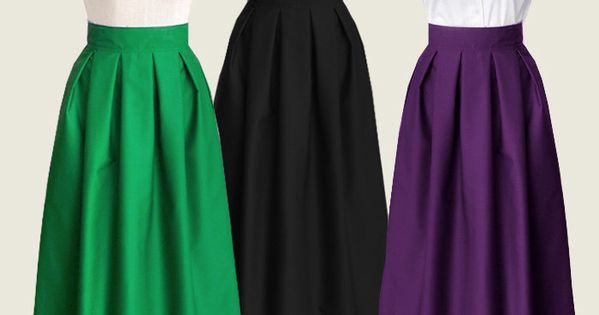 Cotton Pleated Long Skirt With Pockets