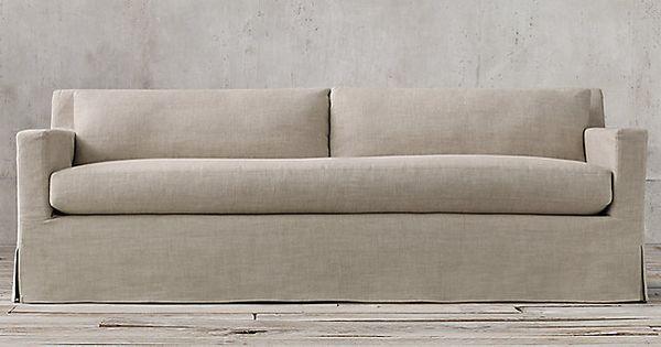petite belgian track arm slipcovered sofa leather tufted sofas the | restoration hardware ...