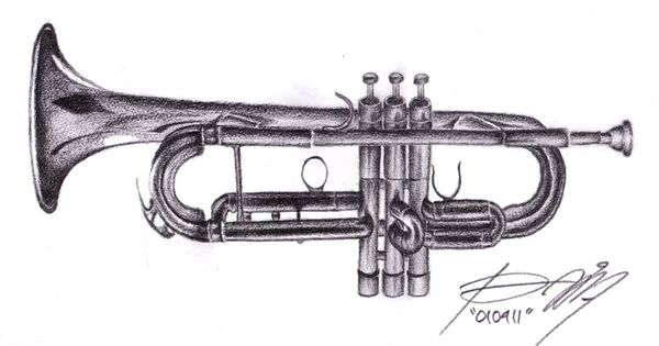 trumpet, drawing trumpet drawing, portrait,done, black and grey By Riki Indrajid