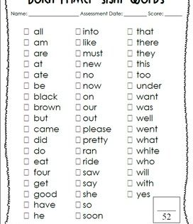 Dolch Sight Word Assessment Sheets @Mrs. Freshwater's