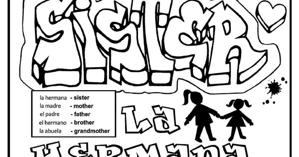 English Spanish free printable graffiti coloring page