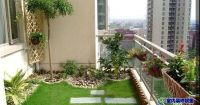 terrace garden on the balcony of a high rise apartment ...