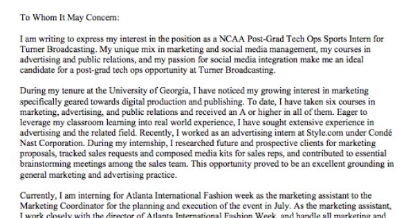 Cover Letter For Turner Broadcasting NCAA Digital Post