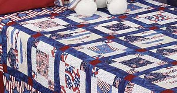 Americana Quilt Patterns Pieced Hearts Using Patriotic