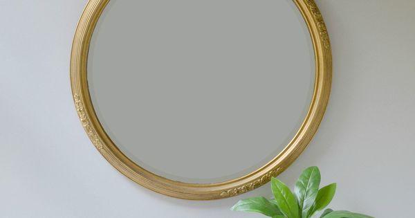 """Round Mirror; 24"""" Round Mirror With Gold Frame; Vintage"""