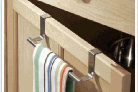 CUPBOARD TOWEL BAR RAIL OVER DOOR HANGER HOOK KITCHEN